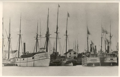 The propellers AFRICA, MAINE and ST. ALBANS with the schooner JESSIE H. BRECK