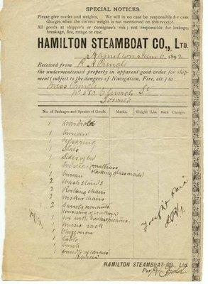 Hamilton Steamboat Company Bill of Lading