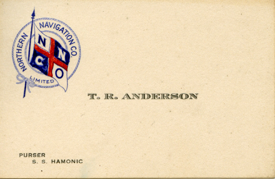T. R. Anderson, Purser, Business Card