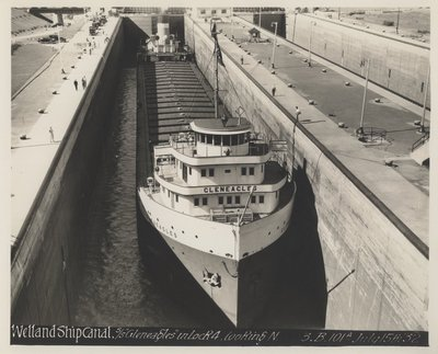 """Welland Ship Canal. S/S """"Gleneagles"""" in Lock 4, looking N."""