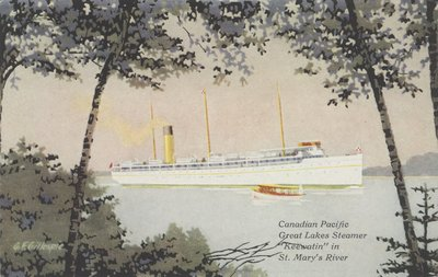 """Canadian Pacific Great Lakes Steamer """"Keewatin"""" in St. Mary's River"""
