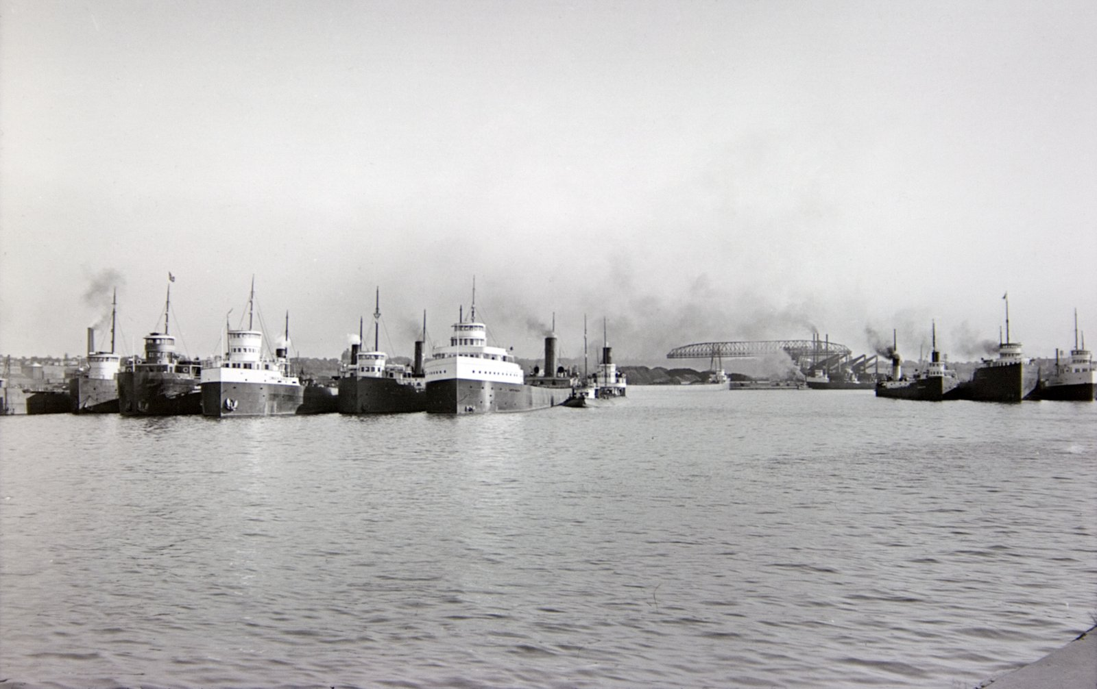 Ohio. Cleveland. Numerous Lake Vessels in Inner Harbor (1919)