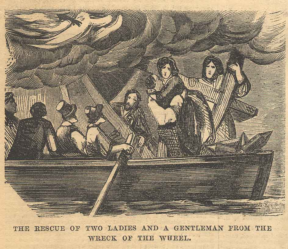 The rescue of two ladies and a gentleman from the wreck of the wheel