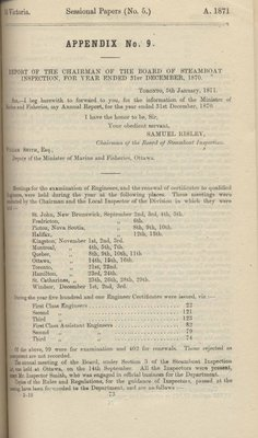 Report of Chairman of Board of Steamboat Inspection For the Year Ended 31st December 1870
