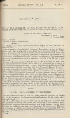Report of Chairman of Board of Steamboat Inspection For the Year Ended 31st December 1875