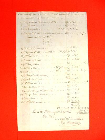 Invoice, 2 Sep 1816: George Ermatinger: various cloths