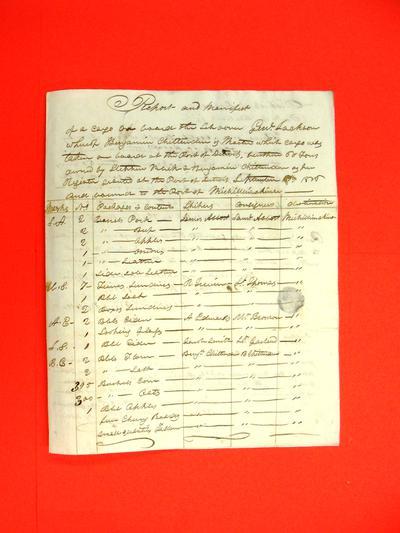 Schooner  General Jackson, Manifest, 21 Nov 1816
