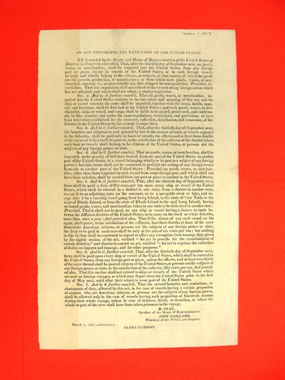 Statute, 1 Mar 1817: An Act Concerning the Navigation of the United States