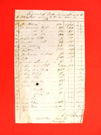 Invoice, Mar 1821: George Ermantinger, Sault Ste Marie