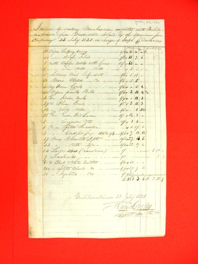 Joseph C. Deschenaux, Invoice, 23 July 1821