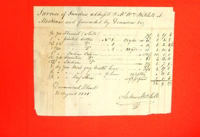 Invoice, 30 Aug 1821