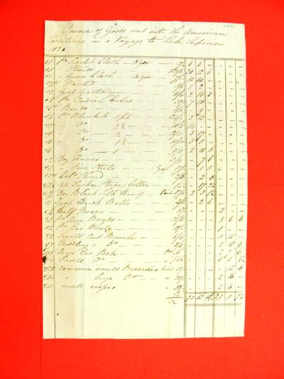 Invoice, 1821: Goods sent into the American Territories in a Voyage to Lake Superior
