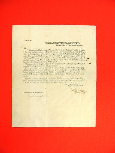 Circular, 25 Jan 1822: Register's Office re wool and silk