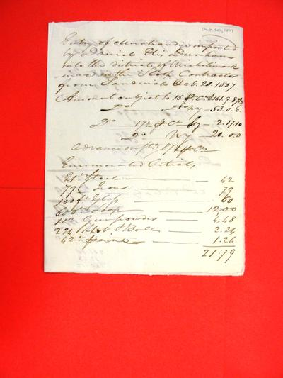 Sloop, Contractor, Manifest, 20 Oct 1807