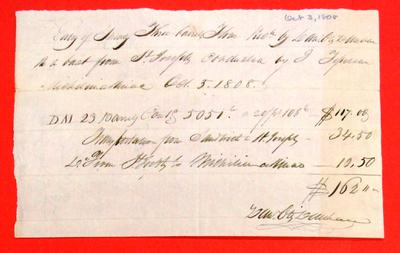 Boats, Daniel O. Dunham, Manifest, 03 Oct 1808