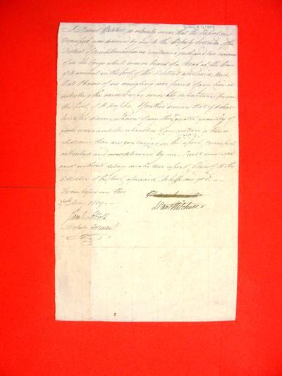 Boats, Daniel Mitchell, Oath, 27 May 1809
