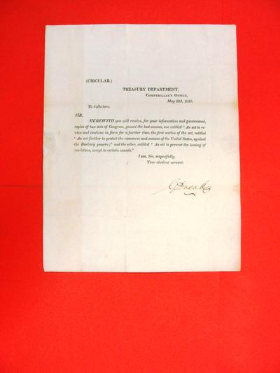 Circular, 22 May 1810, Treasury Department re acts of Congress
