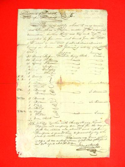 Schooner, Vermillion, Manifest, 30 Apr 1816