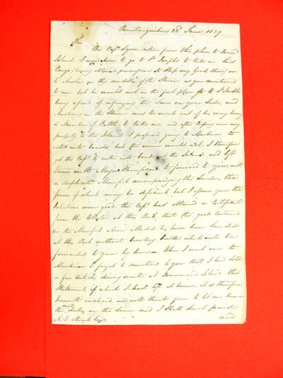 Schooner, Victor, Correspondence, 22 Jun 1829