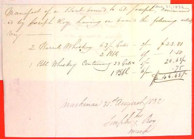 Boats, Invoice, 17 Sep 1832