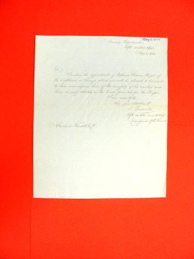Correspondence, 8 May 1834, Treasury Department to Abraham Wendell
