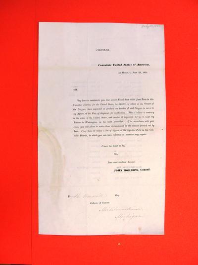 "Circular, 23 Jul 1834, ""John Morrow, Consul at Halifax, NS re Complaint against vessel masters"""