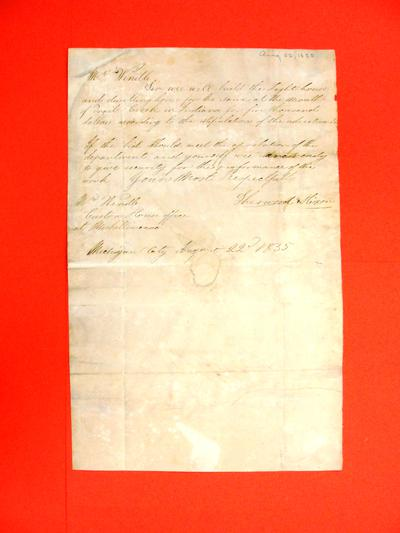 """Correspondence, 22 Aug 1835, """"Sherwood & Nixon. Michigan City to A. Wendell re Bid to build a lighthouse at Trail Creek, IN"""""""