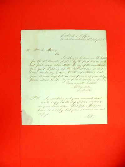 """Correspondence, 16 Feb 1836, """"Abraham Wendell to William M. Stevens, Chicago re Request for Quatrerly Lighthouse Report """""""
