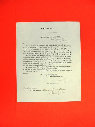 Circular, 22 Feb 1836, Inquiry regarding lighthouse oil consumption