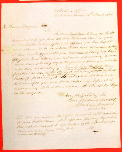 Correspondence, 12 Mar 1836, Abraham Wendell to Thomas Fitzgerald re notice of Accounting Discrepancy in Lighthouse Report