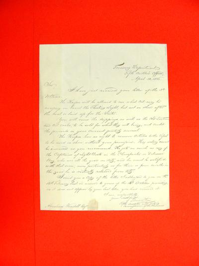 Correspondence, 12 Apr 1836, Treasury Department to Abraham Wendell re various Instructions to Lightship Keeper.