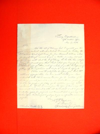 Correspondence, 17 May 1836, Treasury Department to Abraham Wendell re Authorization to build Potowtamie Island Lighthouse