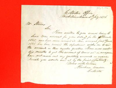 Correspondence, 4 Jul 1836, Abraham Wendell to William M. Stevens