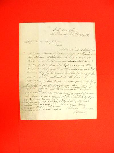 """Correspondence, 01 Aug 1836, """"Abraham Wendell to Messers. Smith, Macy & Russell re Thunder Bay lighthouse supply"""""""