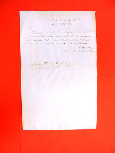 Correspondence, 26 Aug 1836, E. Ward to A. Wendell re Bois Blanc Lighthouse and lack of winter oil
