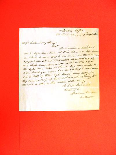 """Correspondence, 29 Aug 1836, """"Abraham Wendell to Smith, Macy, Russell re Thunder Bay & Bois Blanc Lights"""""""