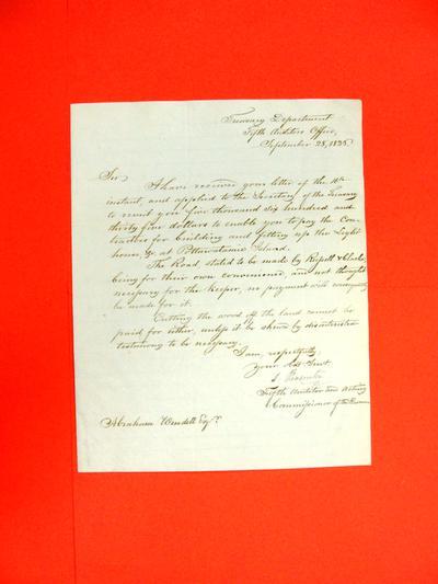 Correspondence, 28 Sep 1836, S. Pleasanton, Treasury Department to Abraham Wendell