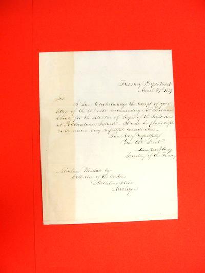 "Correspondence, 27 Mar 1837, ""Levi Woodbury to Abraham Wendell"