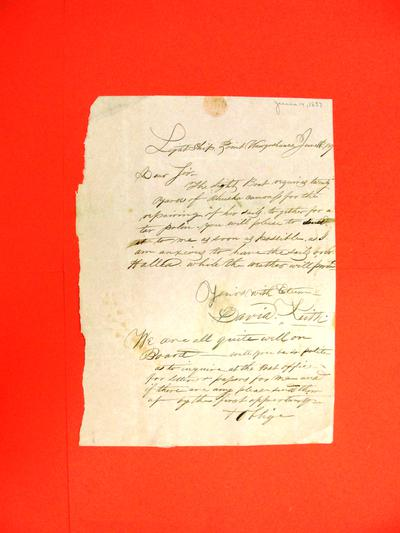 Correspondence, 14 Jun 1837, David Keith re Lightship at Point Waugoshance which requires canvas to repair her sails.