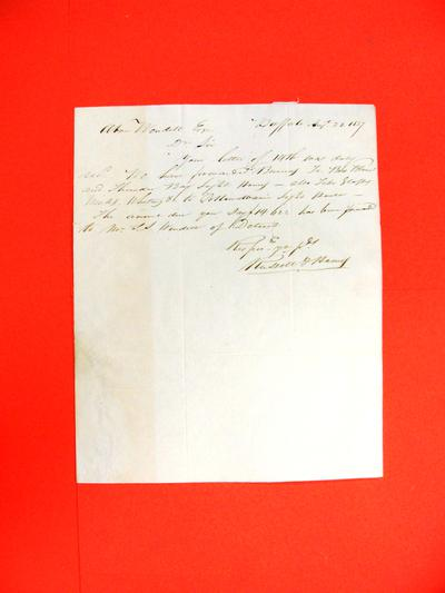 Correspondence, 28 Aug 1837, Russel & Hawes to Abraham Wendell