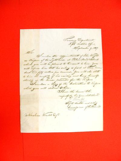 Correspondence, 09 Sep 1837, Treasury Department to Abraham Wendell
