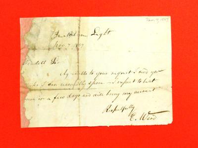 Correspondence, Nov 1837, E. Ward to Abraham Wendell