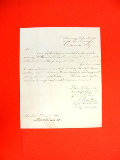 Correspondence, 29 Nov 1837, Treasury Department to Abraham Wendell