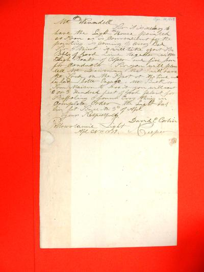 Correspondence, 28 Apr 1839, David E. Corbin to Abraham Wendell re the need to paint the Pottowatamie Lighthouse