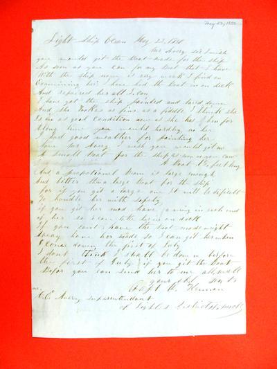 Lightship Ocean, Letter, 23 May 1850