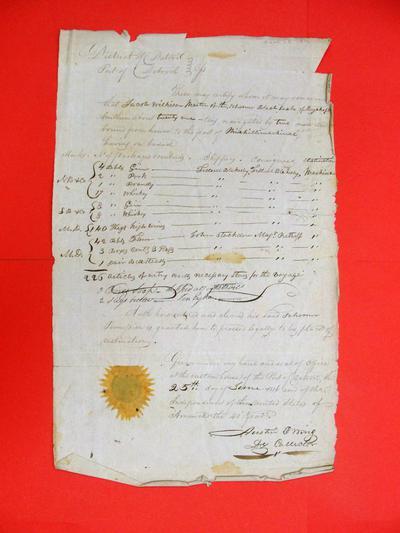 Sloop Black Snake, Manifest, 25 Jun 1816