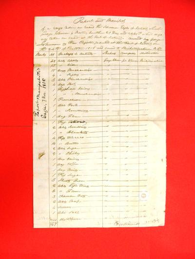 Schooner Eagle, Manifest, 7 Nov 1816