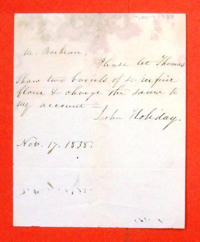 Letter, 17 Nov 1838, John Holiday to Barbeau