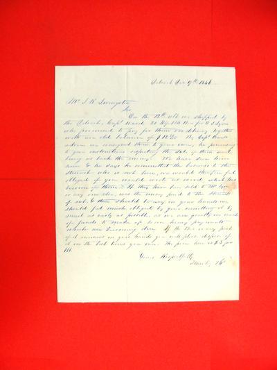 Letter, 17 Dec 1846, L. Hawley & Co. to John R. Livingston