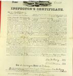 Steamer Comet, Inspector's Certificate, 22 July 1857